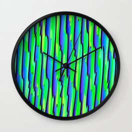 Vertical vivid curved stripes with imitation of the bark of a light blue tree trunk. Wall Clock