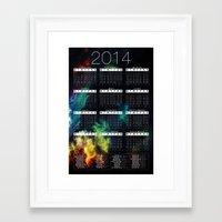 calender Framed Art Prints featuring Jan C.P. Luna - 2014 Calender Poster - #2 by Jan  C.P. Luna