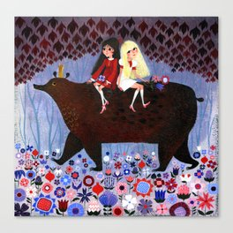 Rose Red and Snow White #2 Canvas Print