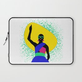 Black woman with yellow big hat Laptop Sleeve