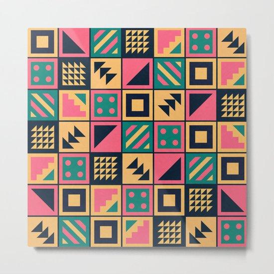 Colorful Geometric Floor Tile Pattern Metal Print