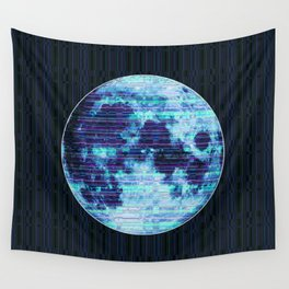 Stripey Blue Moon Wall Tapestry
