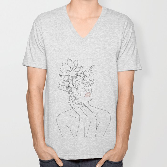 Minimal Line Art Woman with Magnolia Unisex V-Neck