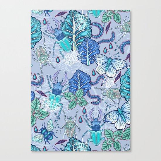Frozen bugs in the garden Canvas Print