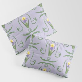 Iris Flowers Illustrated Pattern Purple Green Yellow Summer Garden Pillow Sham