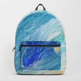 Calm Seas: Acrylic Pour Painting Backpack