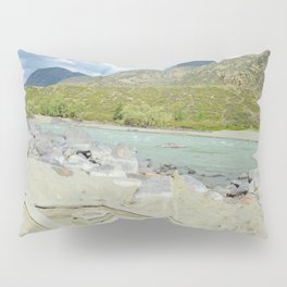 sandy beach on the river Katun, Altai Mountains, Siberia, Russia Pillow Sham