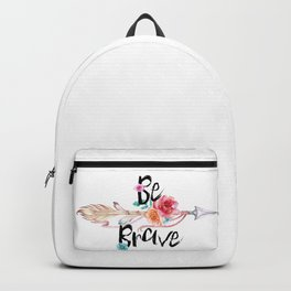 Be Brave Tribal Floral Watercolor Arrow Backpack
