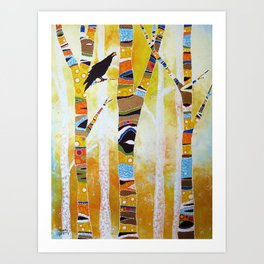Raven Hanging the Sun Art Print