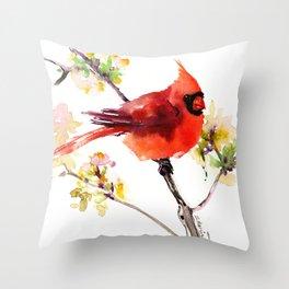 Cardinal Bird in Spring Throw Pillow