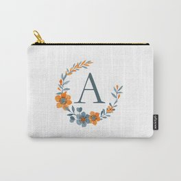 Monogram A Orange Autumn Floral Wreath Carry-All Pouch