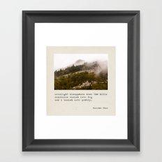 mountains vanish into fog Framed Art Print