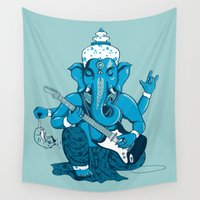 ganesh Wall Tapestries featuring Ganesha rocks ! (v3) by Savousepate