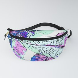 BANANA LEAF PALM PASTEL PINK AND BLUE Fanny Pack