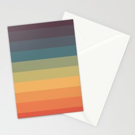 Colorful Retro Striped Rainbow Stationery Cards