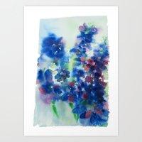 Delphiniums Art Print