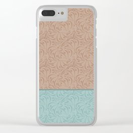 Combo beige turquoise abstract pattern . Clear iPhone Case