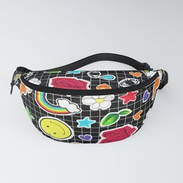 Cute Stickers on Grid Fanny Pack