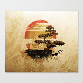 Bonsai Tree In The Sunset Canvas Print