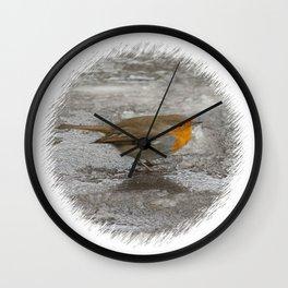 Robin on Ice Wall Clock