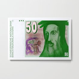 50 Old Swiss Francs Note - Front Metal Print