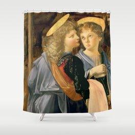 "Andrea del Verrocchio and Leonardo da Vinci ""Baptism of Christ"" - angels Shower Curtain"