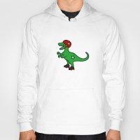 roller derby Hoodies featuring Roller Derby Velociraptor by Jez Kemp