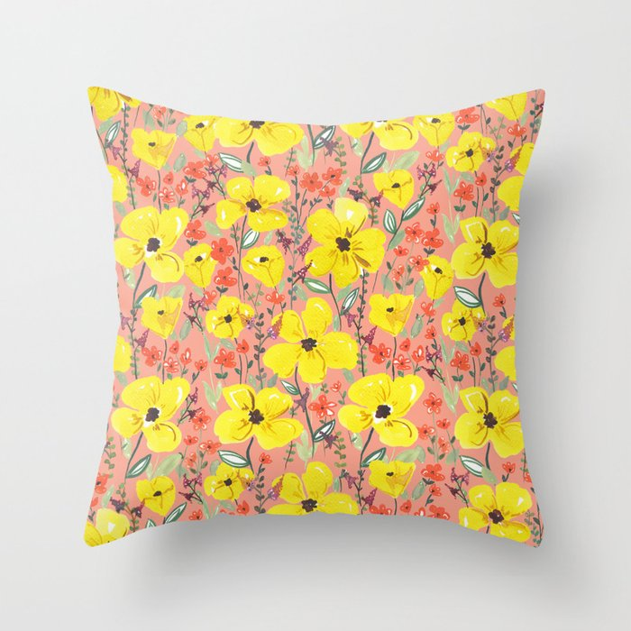 Yellow meadow flowers pattern Throw Pillow