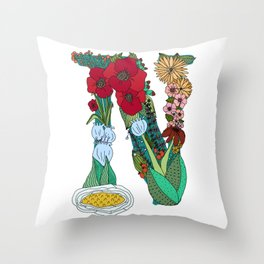 Floral Letter N Throw Pillow