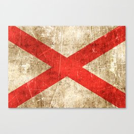 Vintage Aged and Scratched Alabama Flag Canvas Print
