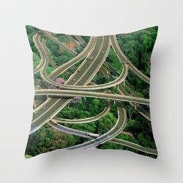 Capillary Motion, art print, gift, collage art, hand cut Throw Pillow