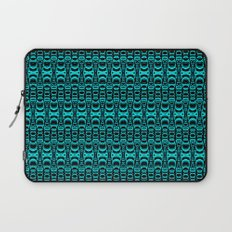 Abstract Pattern Dividers 07 in Turquoise Black Laptop Sleeve