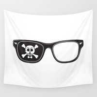 pirate Wall Tapestries featuring Hipster Pirate by Quick Brown Fox