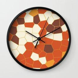 Hexagon Abstract Orange_Cream Wall Clock