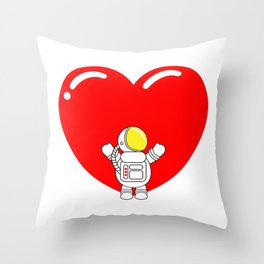 Astro Heart | Love is All Around | Astronaut Hug Love | pulps of Throw Pillow