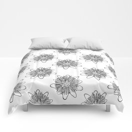 Passionflower Black and White Flower Illustrated Print Comforters