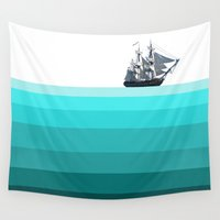 ship Wall Tapestries featuring Ship by Frances Roughton