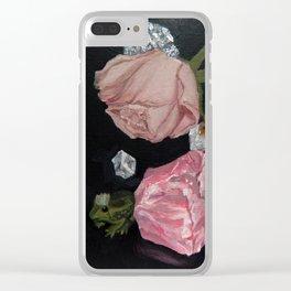 Rose, Rose Quartz, Crystals & Frog Prince Clear iPhone Case