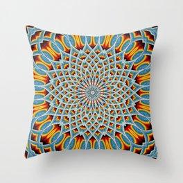 Watercolor Mandala Grunge - Magenta Blue Yellow Throw Pillow