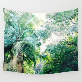 Lost in the jungle bright green tropical palm tree forest photography Wall Tapestry