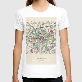 Colorful City Maps: Charlotte, North Carolina T-shirt