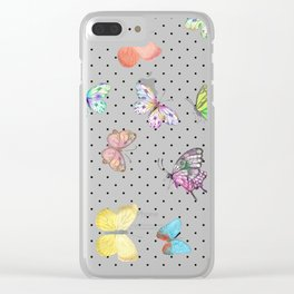Colorful pink teal watercolor hand painted butterfly polka dots Clear iPhone Case