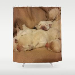 The Huddle with yellow lab puppies Shower Curtain