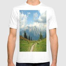 Mountain Range in Austria MEDIUM White Mens Fitted Tee