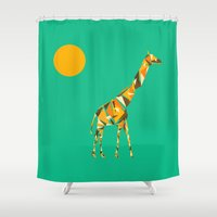 giraffe Shower Curtains featuring Giraffe  by fly fly away