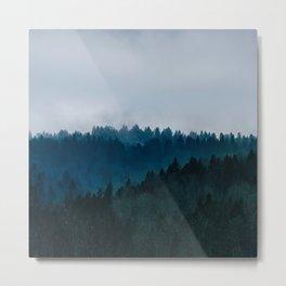 Misty Dark Blue Green Forest Metal Print