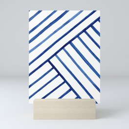 Watercolor lines pattern | Navy blue Mini Art Print