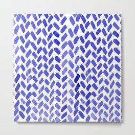 Cute watercolor knitting pattern - blue Metal Print
