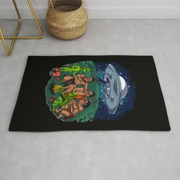 Space Aliens Conspiracy Psychedelic Mushrooms Rug