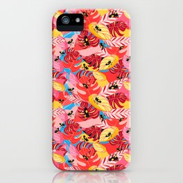 Beautiful illustration of a jungle with the frogs iPhone Case